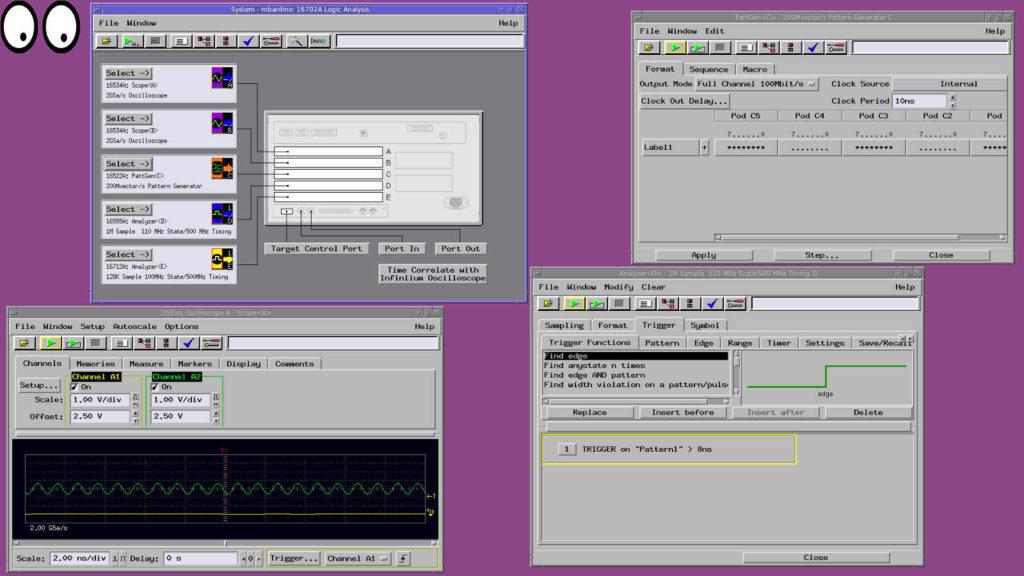In foto lo screenshot di una sessione remota. Il display dell' HP16702A esportato sullo schermo di un portatile (Ubuntu).