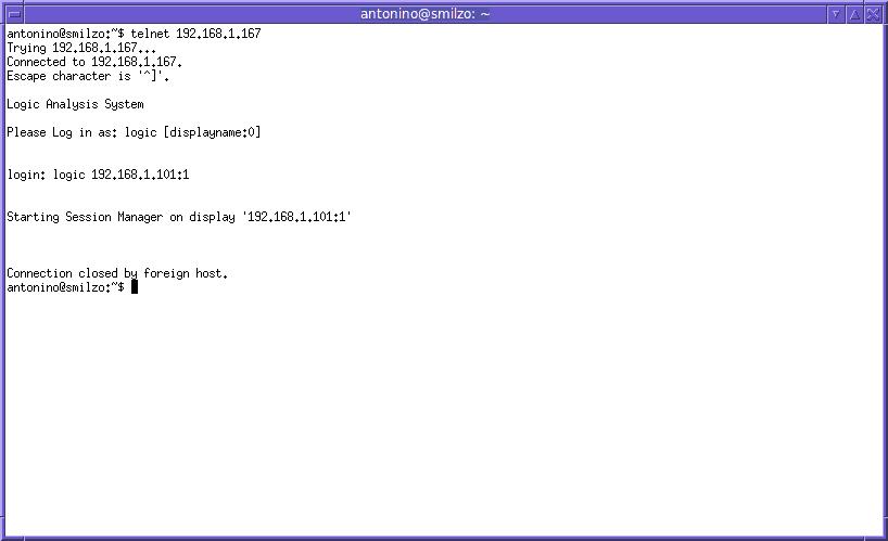 L'immagine (screenshot effettuato sul portatile) illustra il meccanismo che fa partire la sessione remota su di un HP16702A